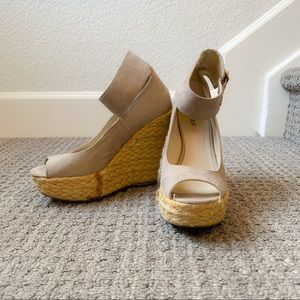JustFab Taupe Wedges with Ankle Strap